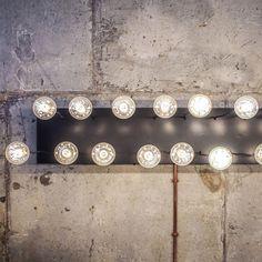 Hanged by Martefun. Потолочный светильник, люстра, металл, панель, нержавеющая сталь, лампа эдисона, индустриальный интерьер, лофт. Ceiling lighting, pendant, chandelier, metal, panel, stainless steel, industrial interior, loft.