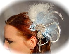 Baby Blue Feather Hairpiece Rhinestone Bridal by Marcellefinery, $32.00