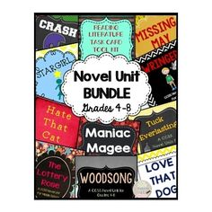 CCSS Novel Unit Bundle for Grades and GO Units included are: Crash Tuck Everlasting Love That Dog Maniac Magee Missing May The Lottery Rose Woodsong Wringer Hate That Cat Stargirl Reading Resources, Teacher Resources, Teaching Ideas, 8th Grade Reading, Guided Reading, Spelling And Handwriting, Discount School Supply, Differentiated Instruction, Readers Workshop
