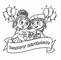 Happy Birthday Kids With Balloons Coloring Page For Holiday Pages Printables Free