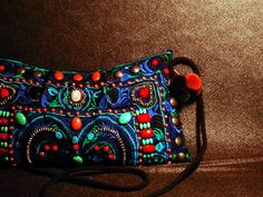Turquoise beads embroidery 2-way purse
