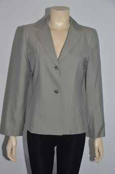 ANN TAYLOR Women's Green Khaki Color Wool Blend Blazer Size 10 Petite On Sale #AnnTaylor #Blazer