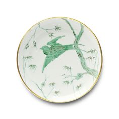 Alberto Pinto Envol Green Bird Dinner Plate in Round Baccarat Crystal, Coffee Cups And Saucers, Porcelain Dinnerware, Fine Linens, China Patterns, Dinner Plates, Dinner Table, Chinoiserie, Decoration