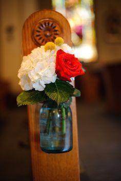Mason Jar Pew Décor (different flower arrangement)