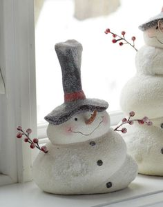 """Small Snowman w/Big Hat 8.5""""H Ceramic - looks as if they are selling it, but there's no price"""