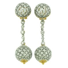 Buccellati Diamond Set Gold Ball Ear Pendants | From a unique collection of vintage drop earrings at https://www.1stdibs.com/jewelry/earrings/drop-earrings/