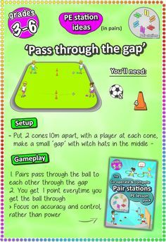 Soccer skill station games for kids and elementary grades 3-6 - check more PE lesson ideas here