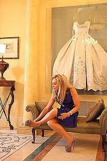 In her walk in closet! Wedding Dress Frame: Because you shouldn't hide your wedding dress in the back of a closet.  For my future house! - I love this idea!