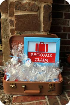 Baggage Claim sign for goodie bag table
