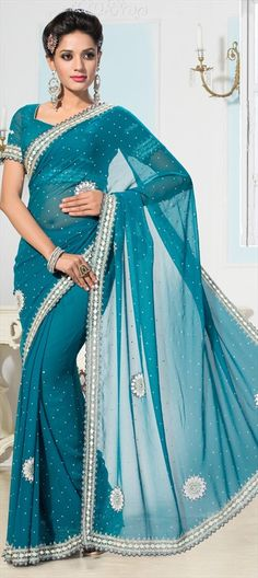 181305 Blue  color family Bridal Wedding Sarees, Party Wear Sarees in Faux Chiffon fabric with Mirror, Patch, Stone work   with matching unstitched blouse.