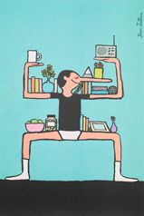 """IKEA ART EVENT 2017 enlisted some of the most exciting established and up-and-coming artists from around the world to contribute to a collection of posters featuring works drawn by hand. The poster featured here is """"Shelfie"""" by Jean Jullien. Funny Illustration, Graphic Design Illustration, Graphic Art, Ikea Art, Lyon, Illustrator, Tiffany & Co., Royal College Of Art, Ad Art"""