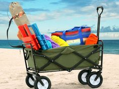 Mac Sports Collapsible Wagon hauls your gear without breaking your back. A must-have for beaches, fairs, parades, concerts, garage sales or taking the little tot for a neighborhood ride. GetdatGadget.com/mac-sports-collapsible-wagon-hauls-beach-gear/