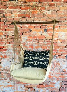 Enjoy relaxing in this comfy hanging hammock chair.