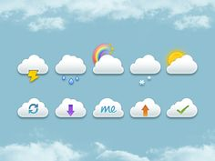 Mini Clouds Set PSD designed by Jackie Tran. Connect with them on Dribbble; Free Web Design, Web Design Trends, Cloud Icon, Free Icon Packs, Simple Icon, Mobile App Design, Clouds, Mini, Ios Ui