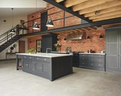 Industrial Style Shaker Kitchen – Tom Howley Most Popular Kitchen Design Ideas on 2018 & How to Remodeling Loft Design, Küchen Design, House Design, Design Ideas, Brick Design, Design Trends, Industrial Kitchen Design, Industrial House, Vintage Industrial