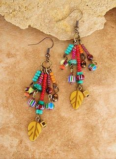 Jewelry Making Ideas Autumn Earrings Bohemian Colorful Leaf Earrings by BohoStyleMe Bar Stud Earrings, Beaded Earrings, Earrings Handmade, Beaded Jewelry, Fine Jewelry, Jewelry Making, Key Jewelry, Gold Jewellery, Bridal Jewelry