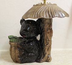 vintage bear and fish in a basket oil lamp bear by brolliarfound, $10.00
