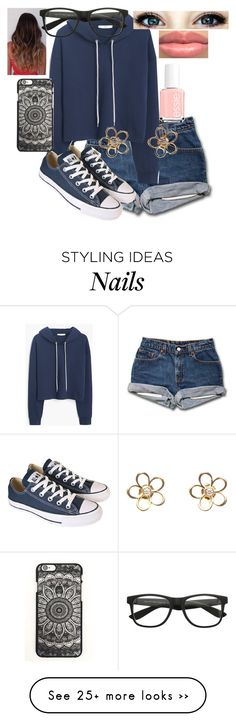 """Boys play with my emotions to frickin much "" by dancesoftball on Polyvore featuring MANGO, Converse and Essie"