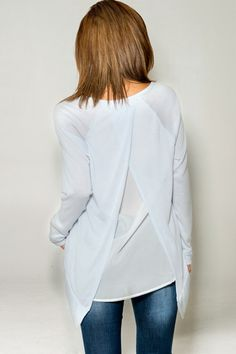 Blake Top in Aspen Blue | Women's Clothes, Casual Dresses, Fashion Earrings & Accessories | Emma Stine Limited