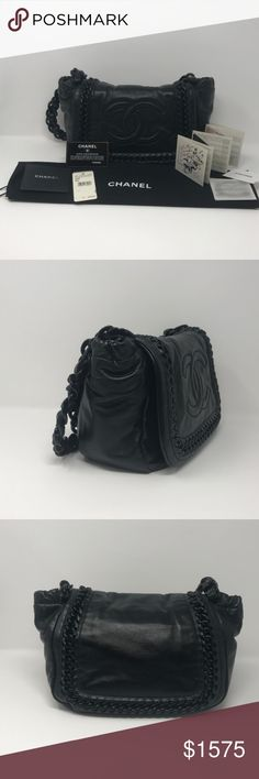 d82e7b0bccd833 Chanel Black Lambskin Modern Chain Flap Bag Very beautiful and rare  shoulder bag. Roomy satin