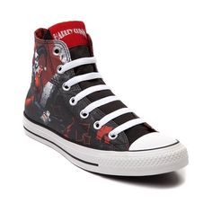 """Harleen Quinzel, the Arkham psychiatrist who fell in love with the Joker. A """"mad love"""" would lead her to a life of crime as Harley Quinn, frequent accomplice, and would-be-girlfriend of the Clown Prince of Crime.    Step into a life of crime with the new Harley Quinn Sneaker from Converse All Star! The Harley Quinn Chucks display a hi top style with printed canvas upper, lace up closure, Harley Quinn tongue logo tag, and durable rubber outsole. Only available at Journeys!     Please note…"""