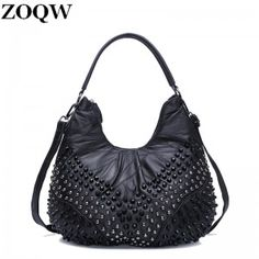 a6db8c180b53 2017 Women Punk Messenger Shoulder Bags Rivet Handbag Shoulder Bags Designer  Large Capacity Ladies Fashion Punk Rivet Bags
