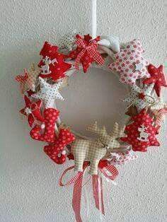 Sewn Christmas ornaments decorationg a purchased wreath