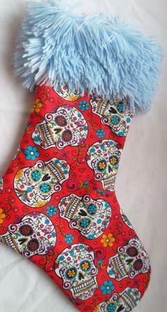 Sugar Skulls Christmas Stocking by yramsdale on Etsy, $13.50