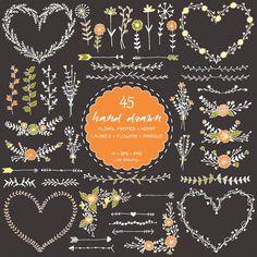 45 Floral Heart Frames Hand Drawn Digital Clip Art by idadrawing