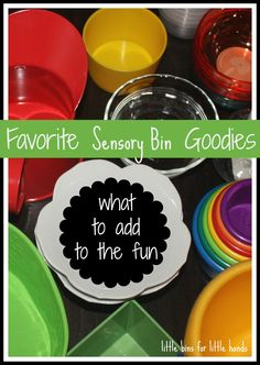 My Top 10 Sensory Bin Goodies eg cups, spoons, magnifying glass, tongs etc