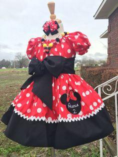 Personnalisé Rouge Et Noir Minnie Mouse Ribbon Trim Tutu Birthday Outfit