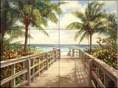 Ceramic Tile Mural - I'm Going To The Beach - by Laurie Snow Hein - Kitchen backsplash / Bathroom shower *** Check this awesome product by going to the link at the image. (This is an affiliate link) #KitchenBacksplashDIY