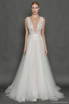 Francesca Miranda Sleeveless Thick Strap Wedding Dress Bridal Gown featuring Deep V Neck Heavily Embellished Bodice with Romantic A- Line Skirt