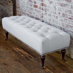 Sophie Loren Tufted White Linen Bench