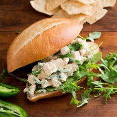 Fresh jalapeños add a zesty flavor to this classic chicken salad sandwich recipe. Egg And Cheese Sandwich, Sandwich Fillings, Sandwich Recipes, Lunch Recipes, Wine Recipes, Lunch Foods, Chef Recipes, Yummy Recipes, Edamame Salad