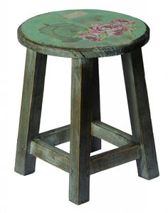 The rustic yet beautiful Vintage Rose Stool is a wonderful shabby chic stool versatile enough for a variety of home settings. The distressed finish on the legs is contrasted by the pretty painted design on the seat which really completes the look.