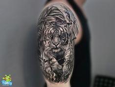 Tiger Head Tattoo, Tiger Tattoo Sleeve, Lion Tattoo Sleeves, Head Tattoos, Small Tattoos, Sleeve Tattoos, Cool Tattoos, White Tiger Tattoo, Tatoos