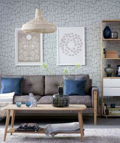 Fabulous living room wallpaper design with neutral sofa and wooden furniture Best Living Room Wallpaper, Room Wallpaper Designs, Wallpaper Decor, Designer Wallpaper, Wallpaper Ideas, Living Room Designs, Living Room Decor, Living Rooms, Neutral Sofa