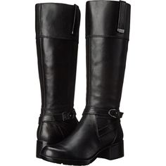 Bandolino Baya (Black Leather) Women's Shoes ($83) ❤ liked on Polyvore featuring shoes, boots, black, knee-high boots, leather upper boots, bandolino boots, knee high boots, buckle boots and knee high buckle boots