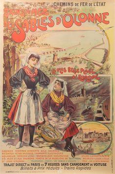 Louis Galice (1864-1935)Chemins de Fer de l'État; Bains de Mer des Sables d'Olonne, [...]   lot 2712   Affiches Vintage chez Veilinghuis Onder de Boompjes Travel Posters, Comic Books, Advertising, Classic, Romance, Illustrations, French, Holiday, Posters