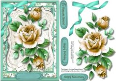 Beautiful Cream Roses on a Bracket Frame  on Craftsuprint designed by Ceredwyn Macrae - A lovely card to make and give to anyone with Beautiful cream roses on a bracket frame has three greeting tags and a blank one  - Now available for download!
