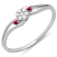 10k White Gold Round Ruby And White Diamond Ladies Bridal Swirl Split Shank Cluster Promise Ring ** Awesome product. Click the image : Promise Rings