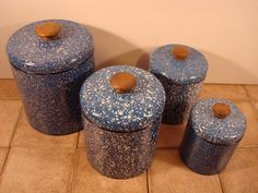 Ransburg blue and white speckled metal canister set with lids- vintage, good condition, beautiful by HeathersCollectibles on Etsy