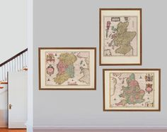 "Collection of Old British Maps, originally created by Willem Janszoon Blaeu, now available as a 'museum quality' Gift print.  #17x22"" #22x34"" #antiquebritishmap #uk #britishgift #british #Dublin #Edinburgh #homedecor #travelposter #interiordesign #Glasgow #hahnemuhle #Inverness #London #oldmap #britain #uk #restorationhardware #UK"