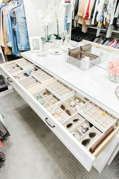 California Closets- A white custom closet dresser is fitted with jewelry drawers… - Home & DIY