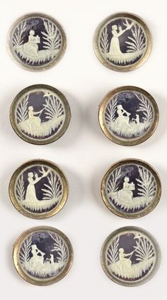 A Set of Antique French Cameo Buttons in Blue & White ....