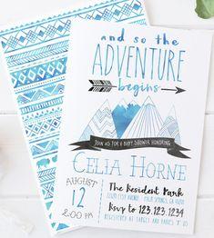 Adventure Baby Shower Invitation Mountain Arrow by DesignAndDonuts