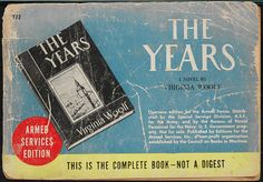 Special edition of Woolf's 'The Years' printed for the US Armed Forces in Europe during the Second World War