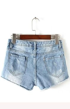 Shorts Blue Denim Hole Pockets Design