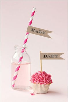Vintage Baby Personalized Flag Labels. It's your baby shower and you want it to reflect your signature style. Serve up some of your favorite classic hor d'oeuvres adorned with toothpicks or sip retro drinks from straws featuring one of these Vintage Baby Personalized Flag Labels. These festive, swallowtail flags are sure to make a statement that won't be missed! Due to the personalization for this product the minimum order is 20. Add matching striped straws to the personalized flag...